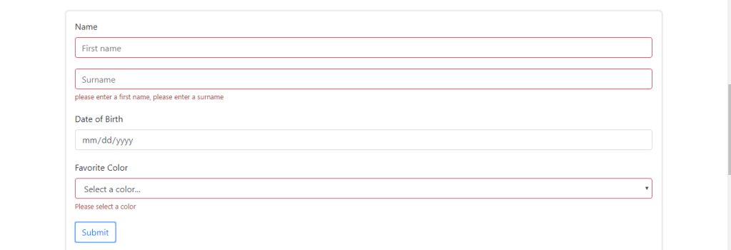 React form with field validation