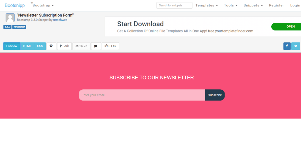 newsletter subscription form with html and css