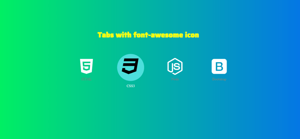 Pure CSS built icon tabs