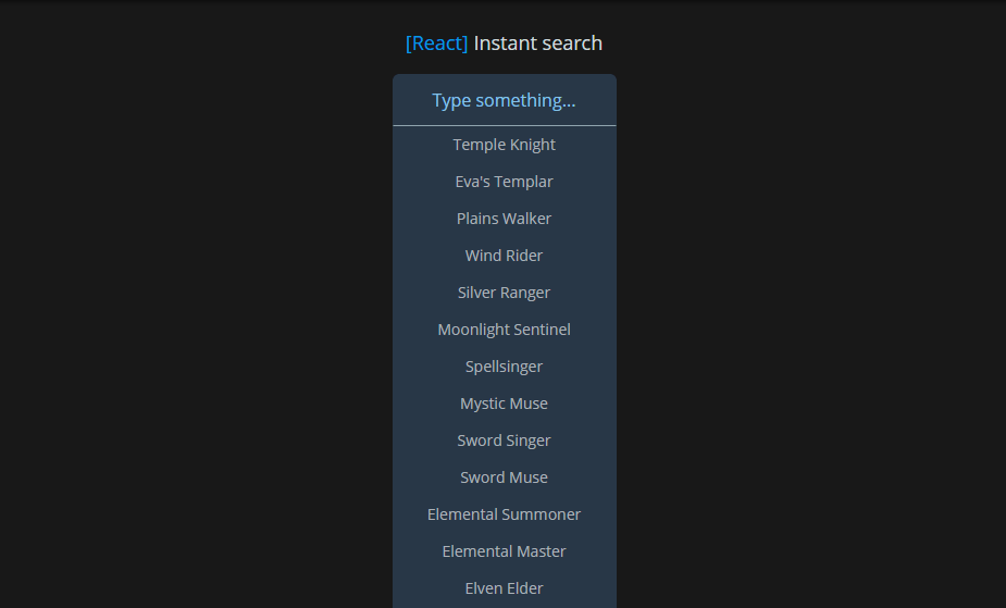 Instant Search