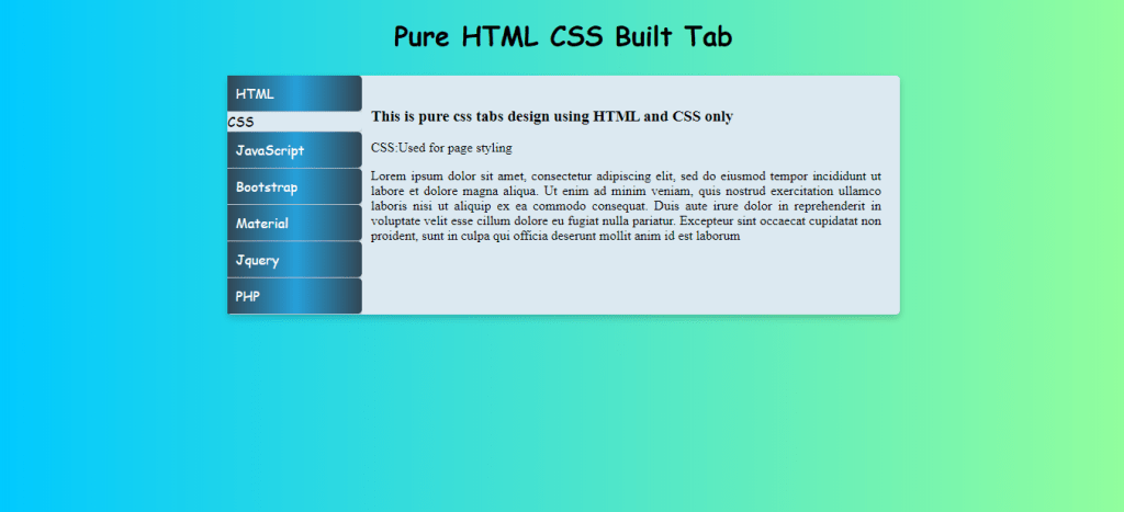 Pure CSS HTML Vertical Tabs Tutorial