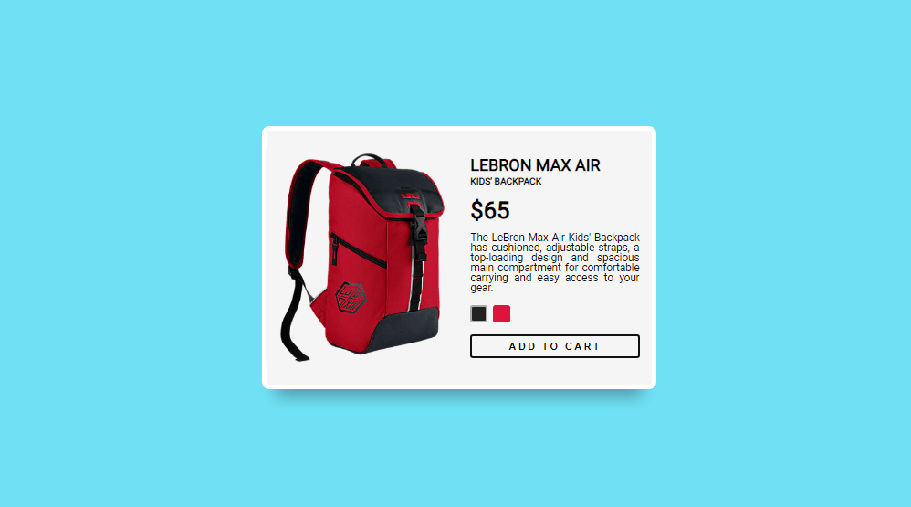 color transition effect for product card