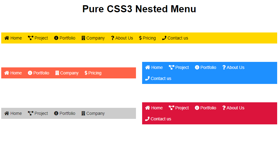 nested horizontal navbar menu example