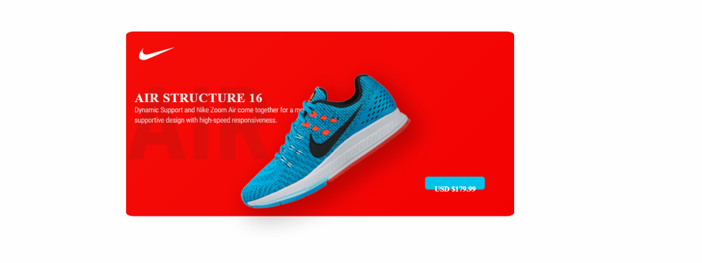 nike shoes product card design with bootstrap