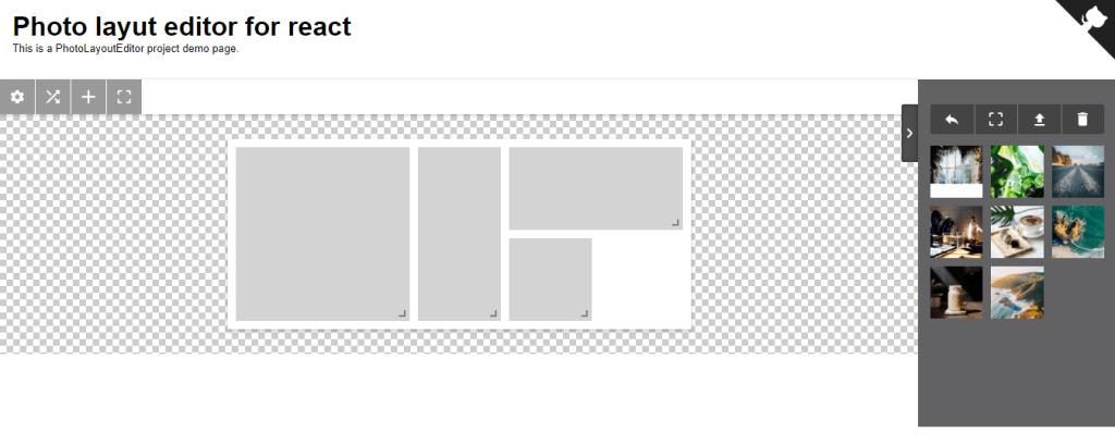 React photo layout editor