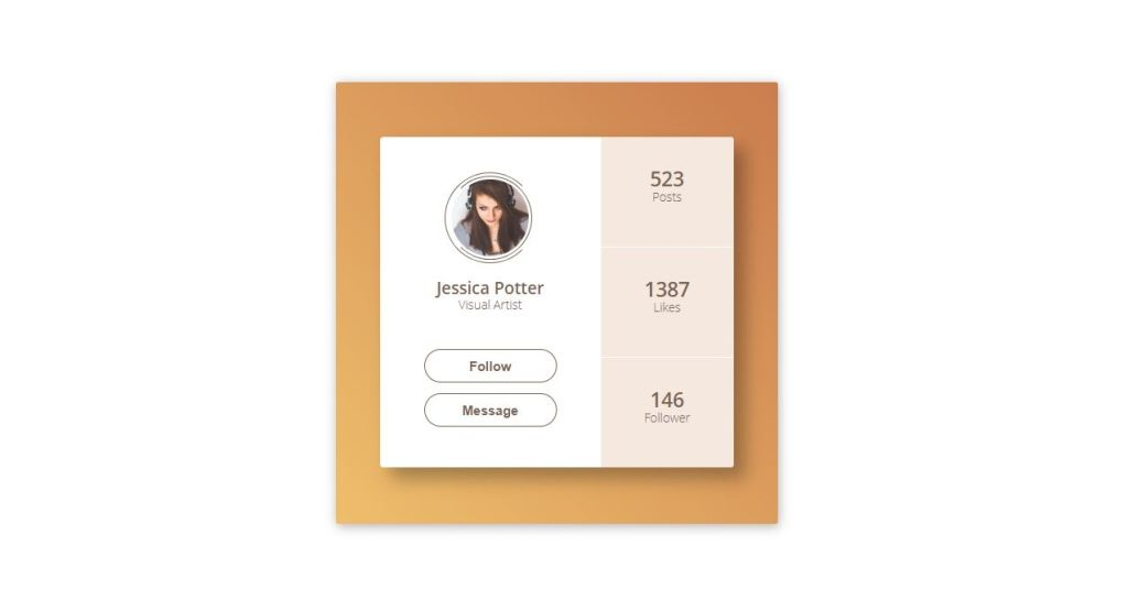 css html card profile