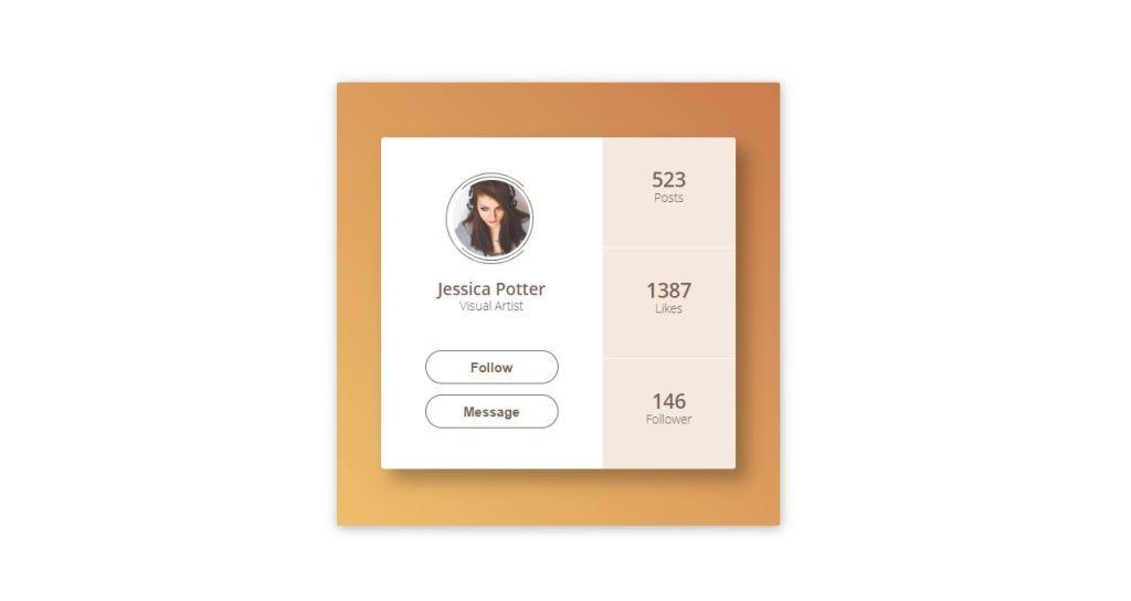 css html card profile