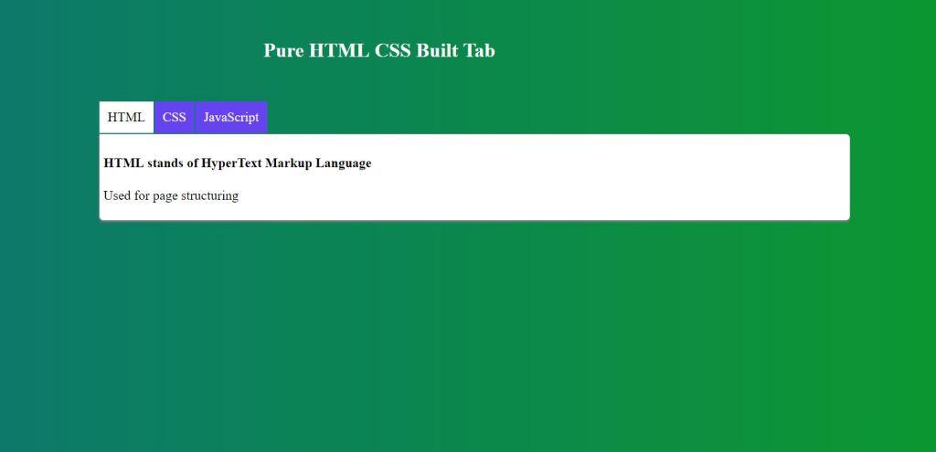 pure css html tabs menu radio button
