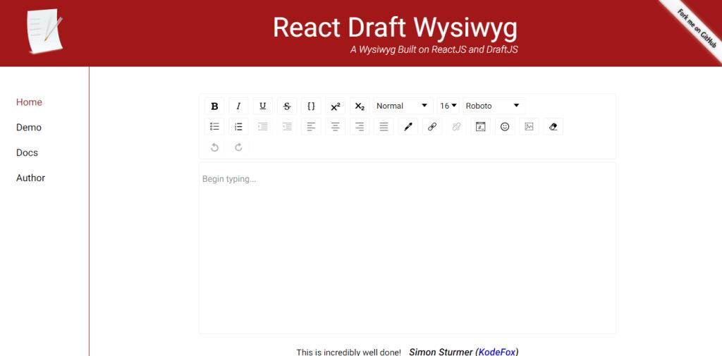 react draft wysiwyg text editor