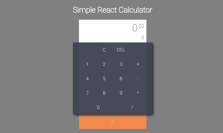 React JS Simple  cal