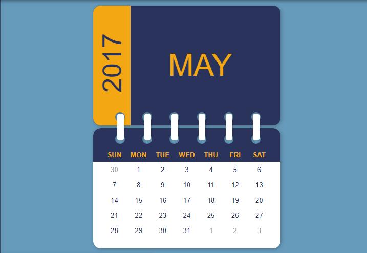 table calendar example