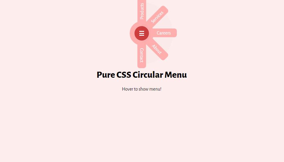 circular bootstrap css menu