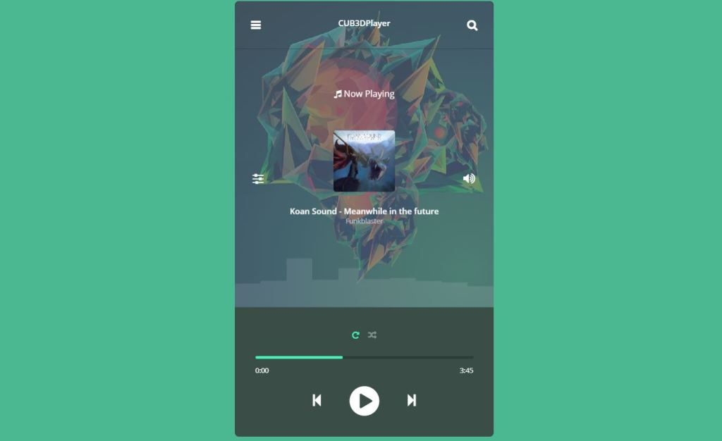 css music player 3d cube