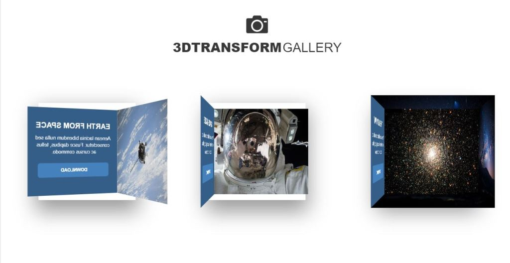 3D Transform Gallery Cube Rotate