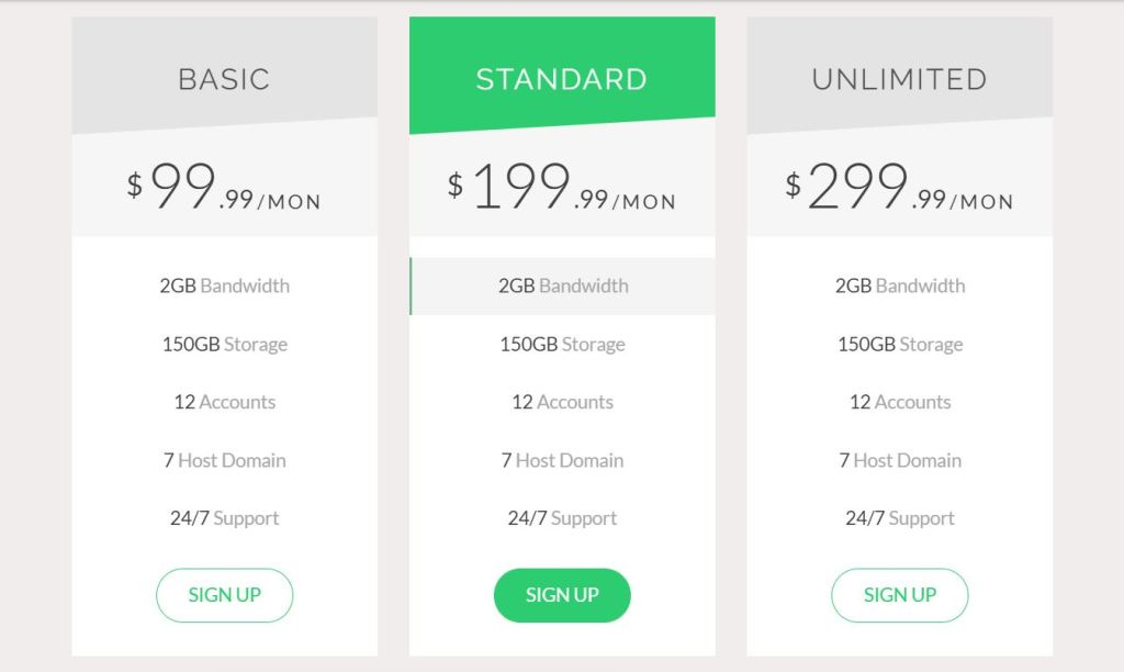 CSS Bootstrap Pricing Tables
