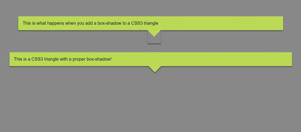 triangle arrow box shadow with html css and javascript.