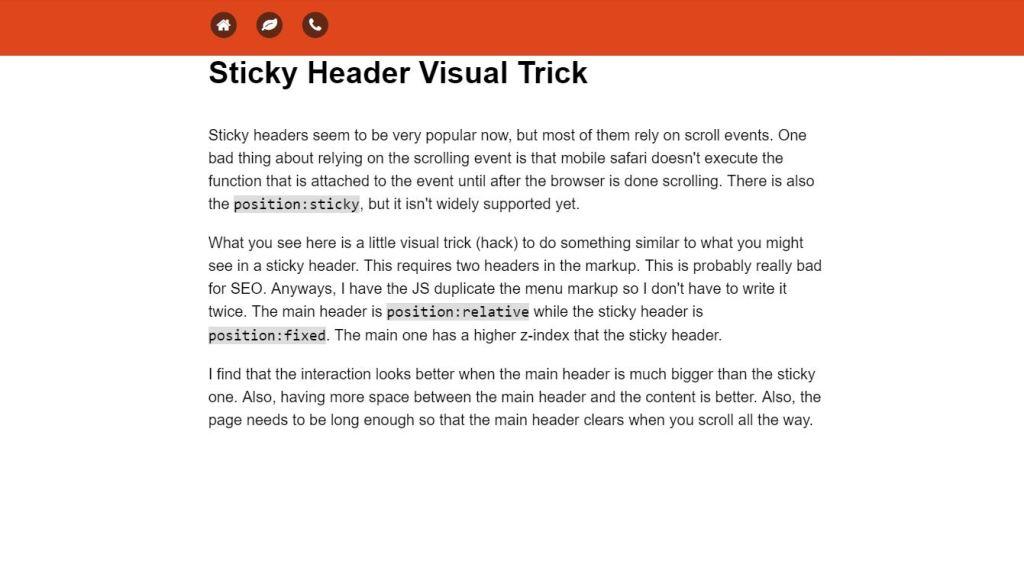 JS Sticky Header Visual Trick