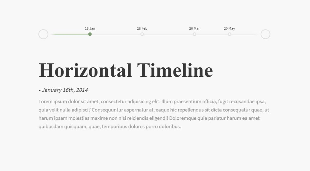 Horizontal Event Timeline HTML CSS Examples