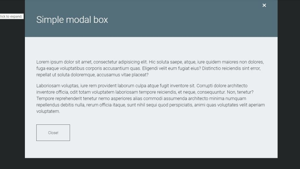 modal css dialog box example with html, css, bootstrap