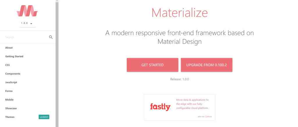 material design CSS framework Materialize