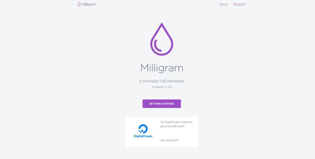 Milligram ligtweight css grid framework