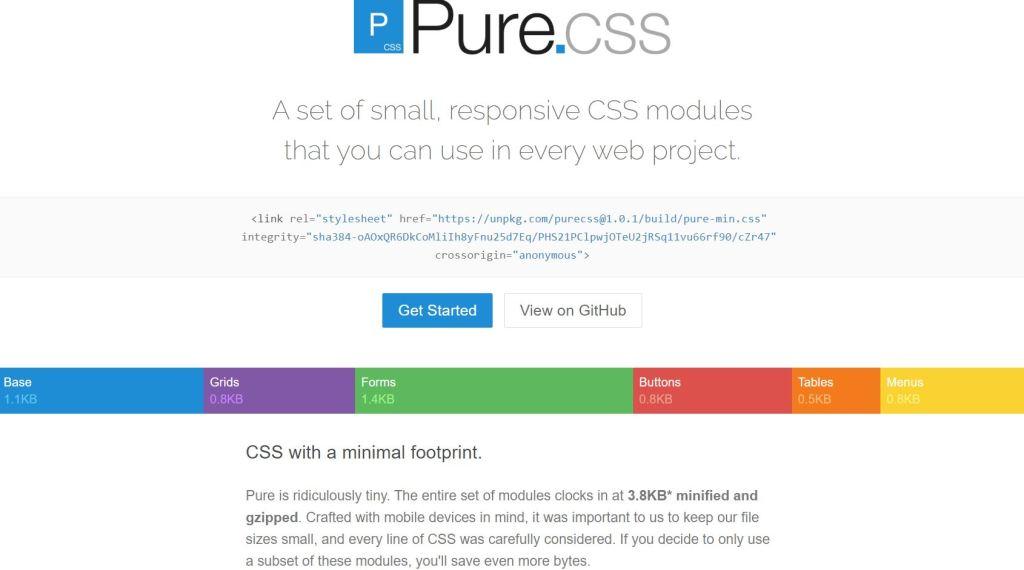 pure.css ligtweight css framework
