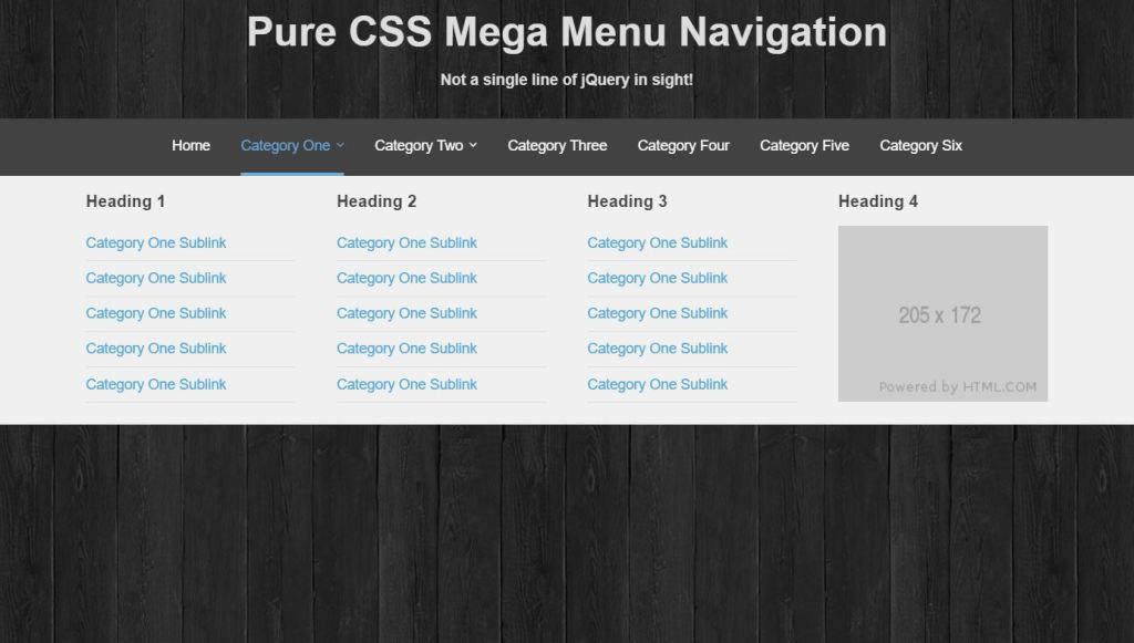Pure CSS HTML Mega Menu Navigation