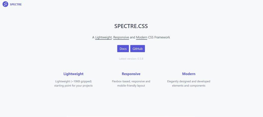 Spectre light css frontend frameworks