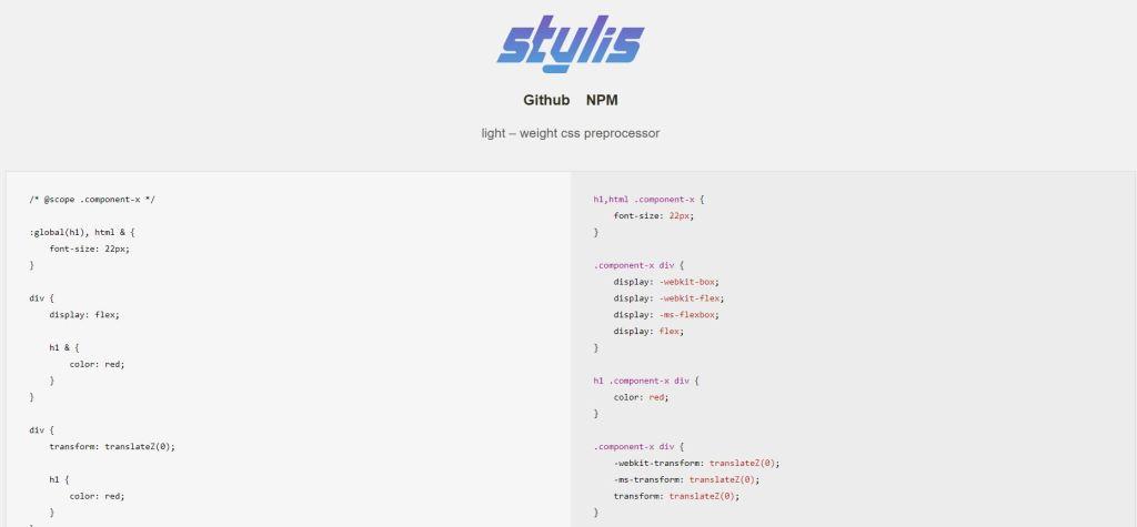 css preprocessor online Stylis