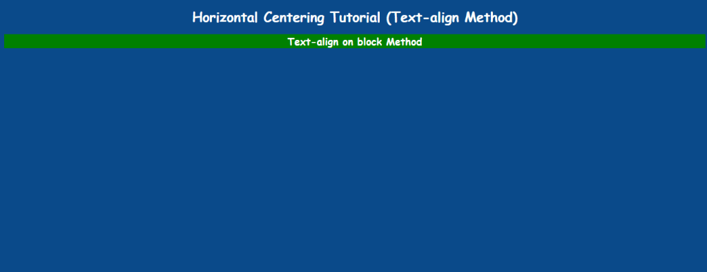 Tex-align method to align div block middle of horizontal screen