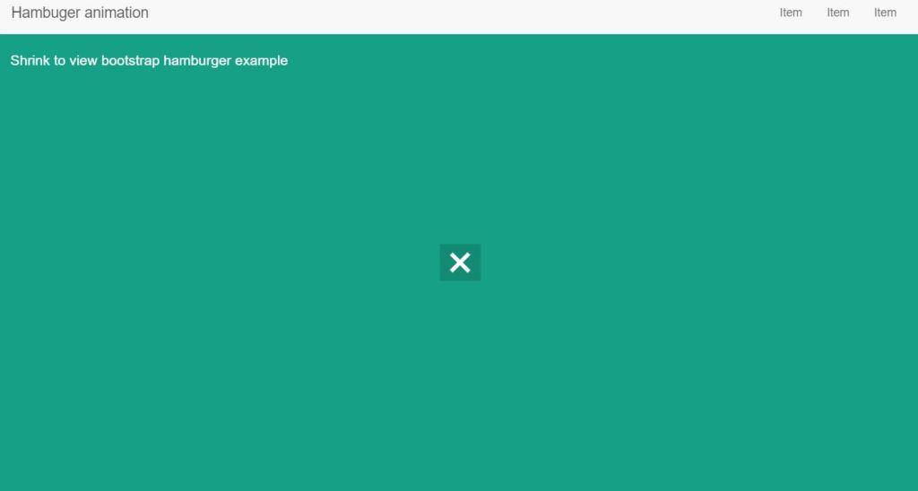Bootstrap 4 CSS Hamburger menu icon