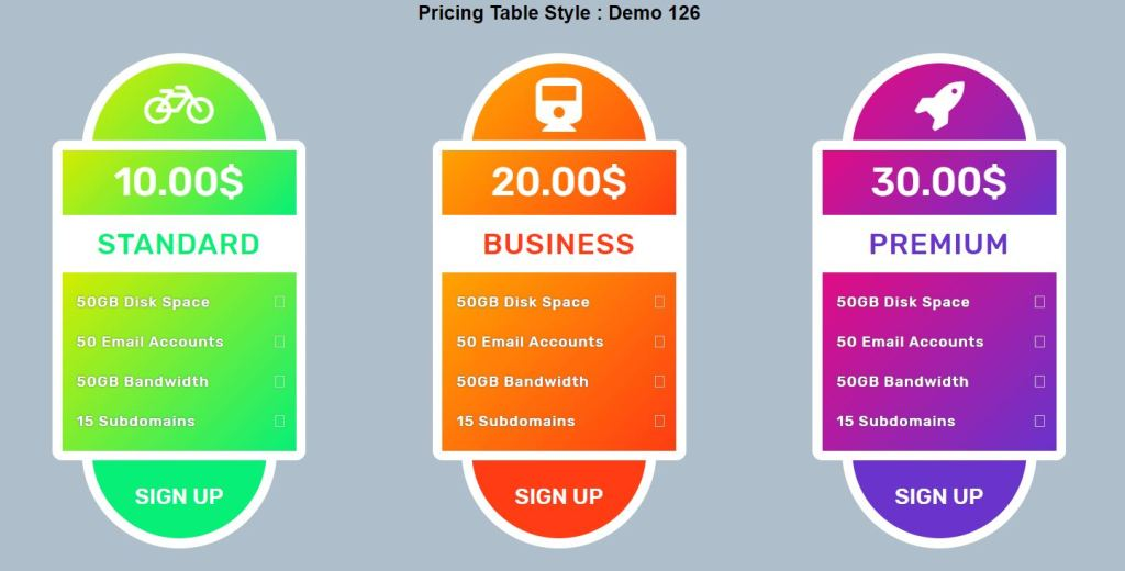 website pricing table style