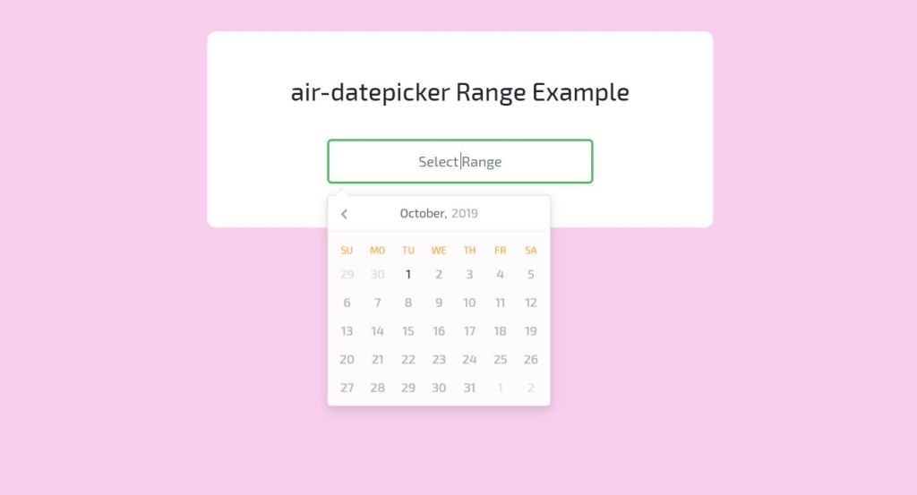 Air datepicker range