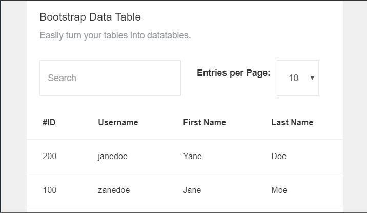 bootstrap data table examples