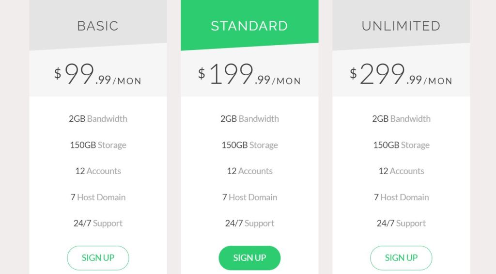 Bootstrap HTML CSS pricing table