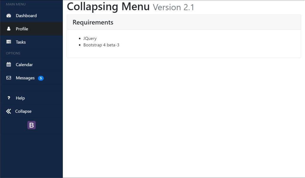 Bootstrap Collapsing Sidebar Menu