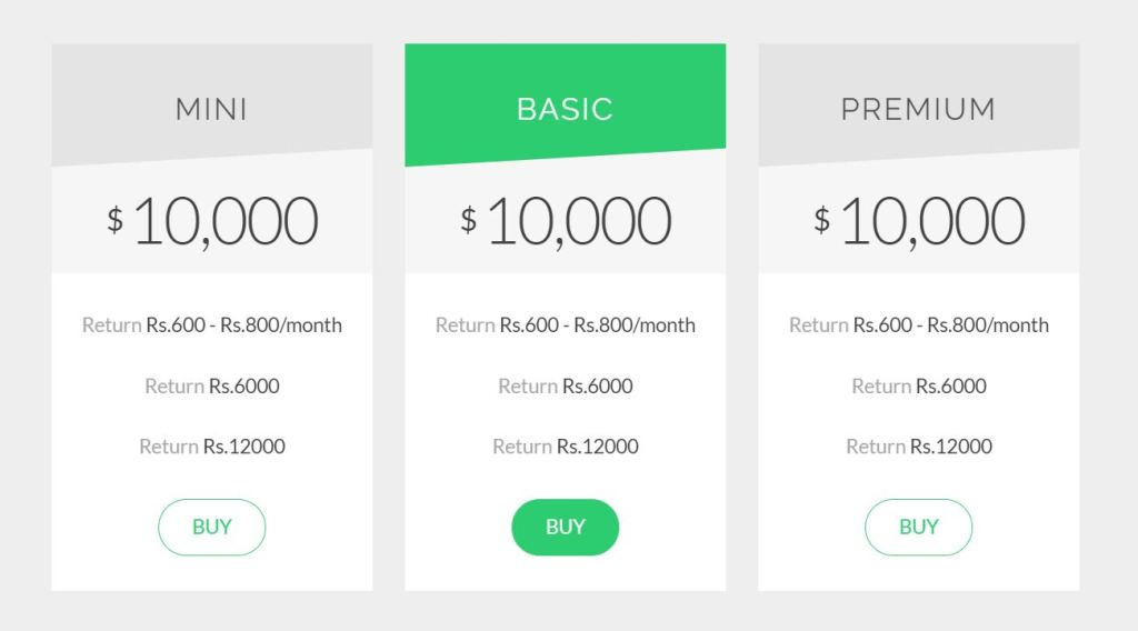 material design Bootstrap HTML CSS pricing table