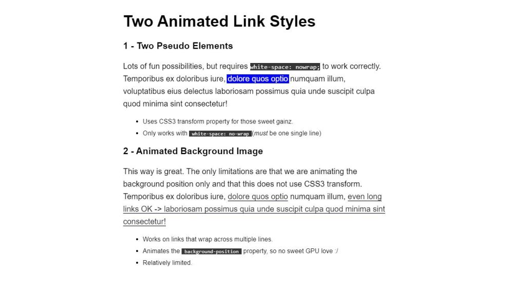 bootstrap link style animation