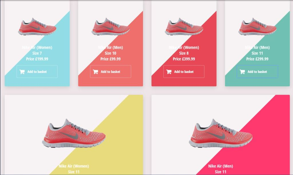 Flexy product cards examples