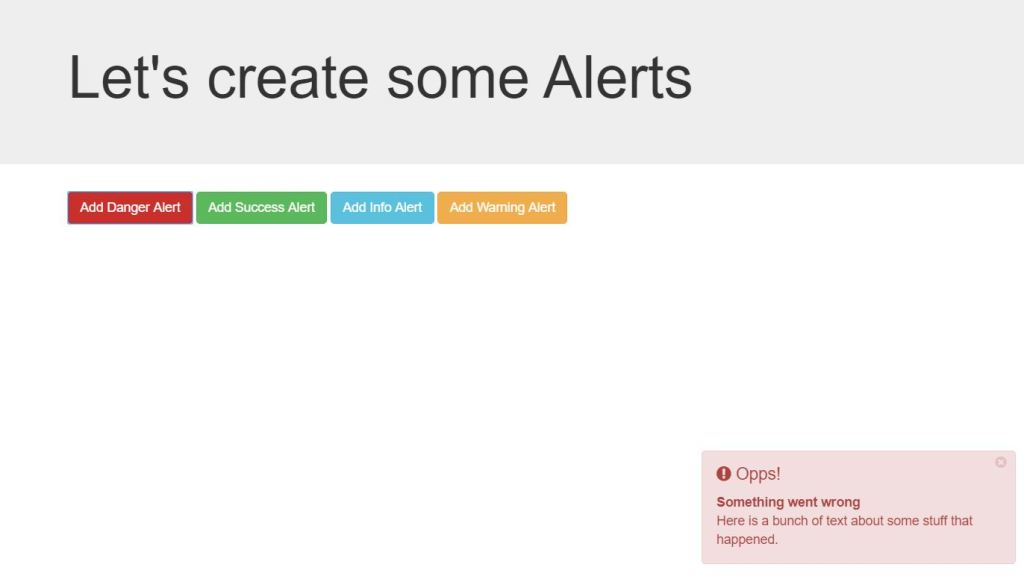 Generate Bootstrap 4 notification example