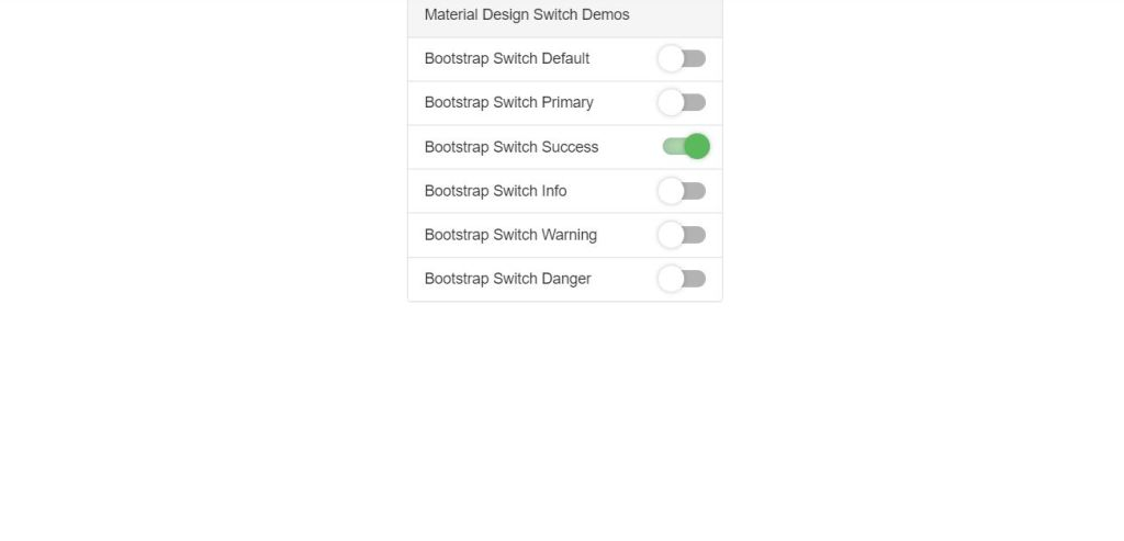 Material design bootstrap toggle switch