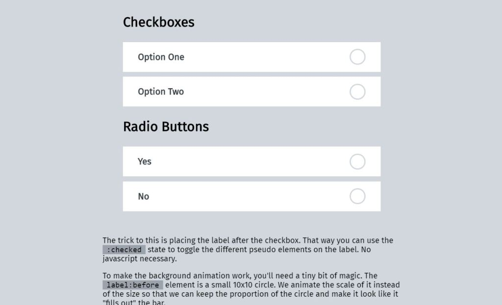 Bootstrap Material Inspired checkbox radio button