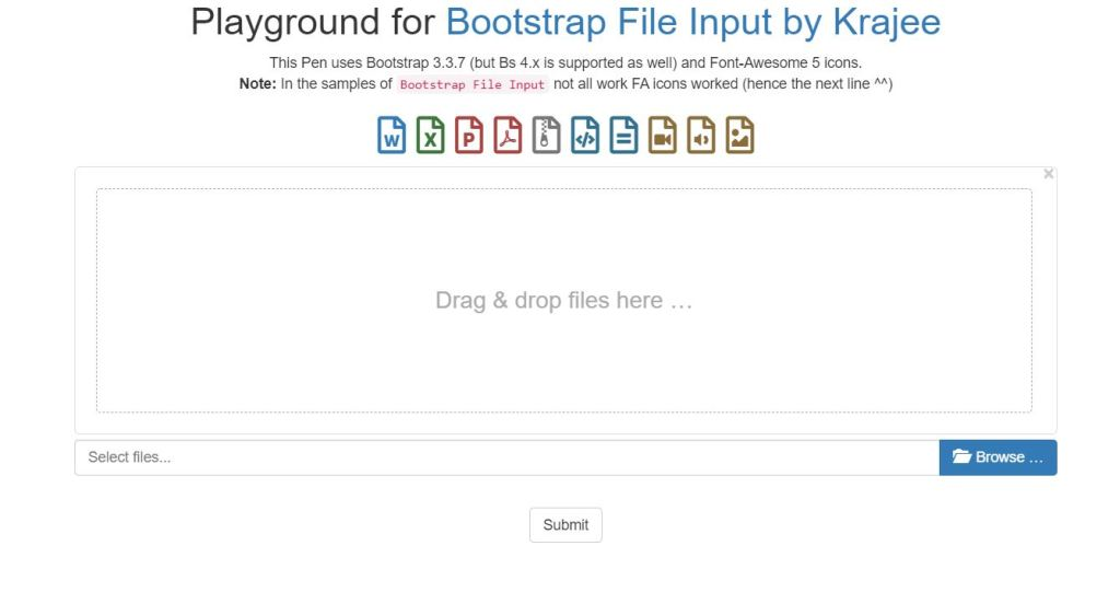 Playground for Bootstrap 4 File Upload Input Type examples