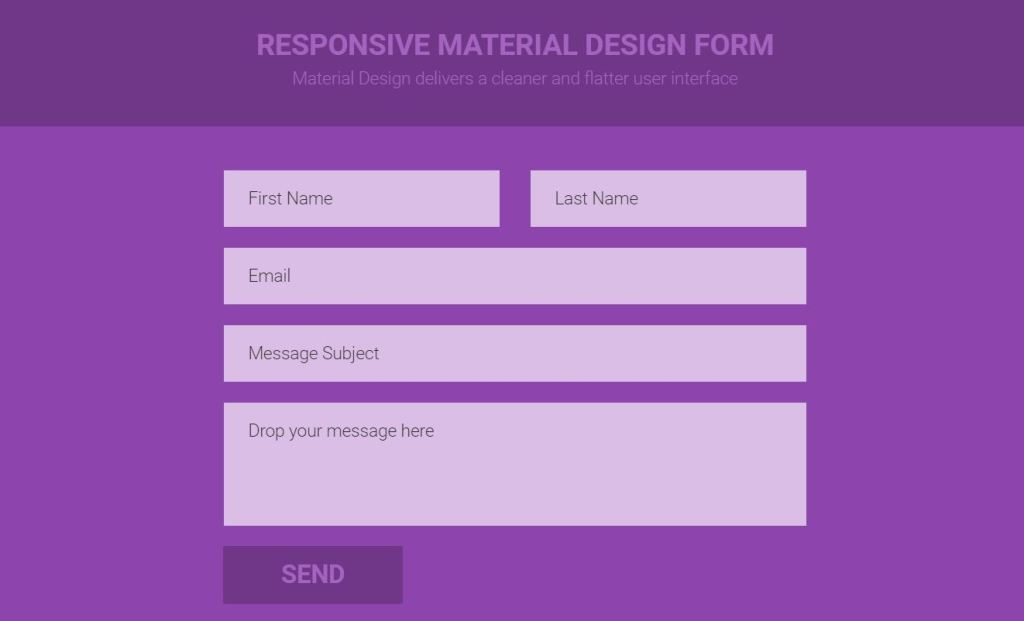 Responsive material design Bootstrap contact form