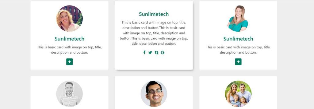 Team designer bootstrap card design examples