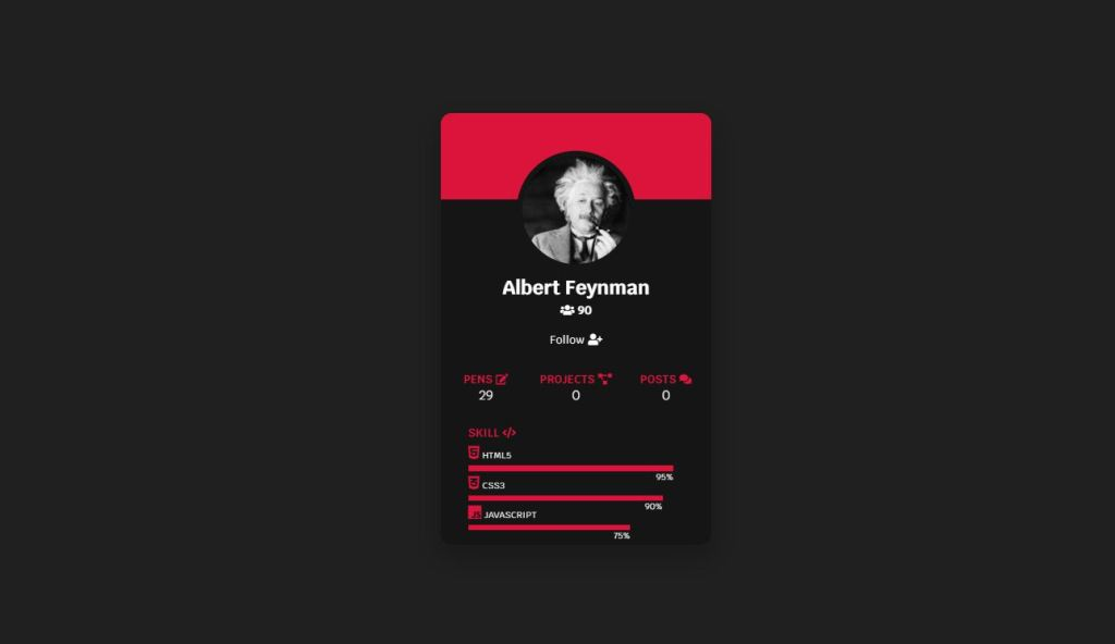 profile card awesome example