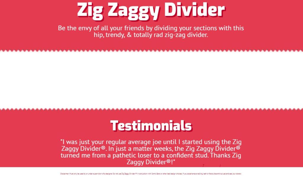 zig zag bootstrap horizontal divider/separator example