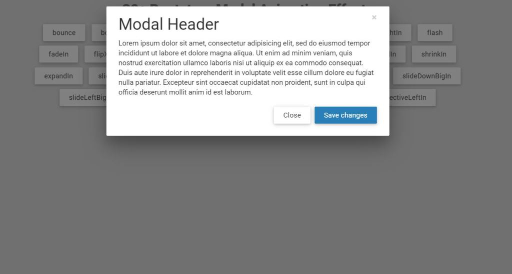 Bootstrap modal box window animation effects