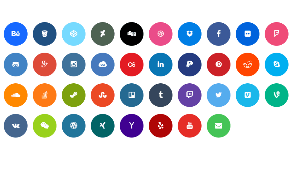 Circular Bootstrap Social Media Icons
