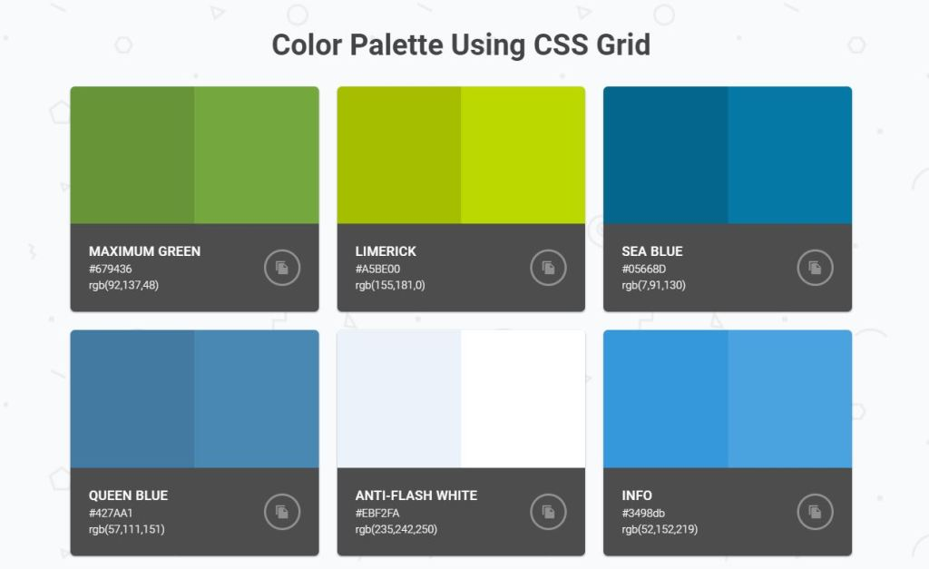Bootstrap color palette using Grid